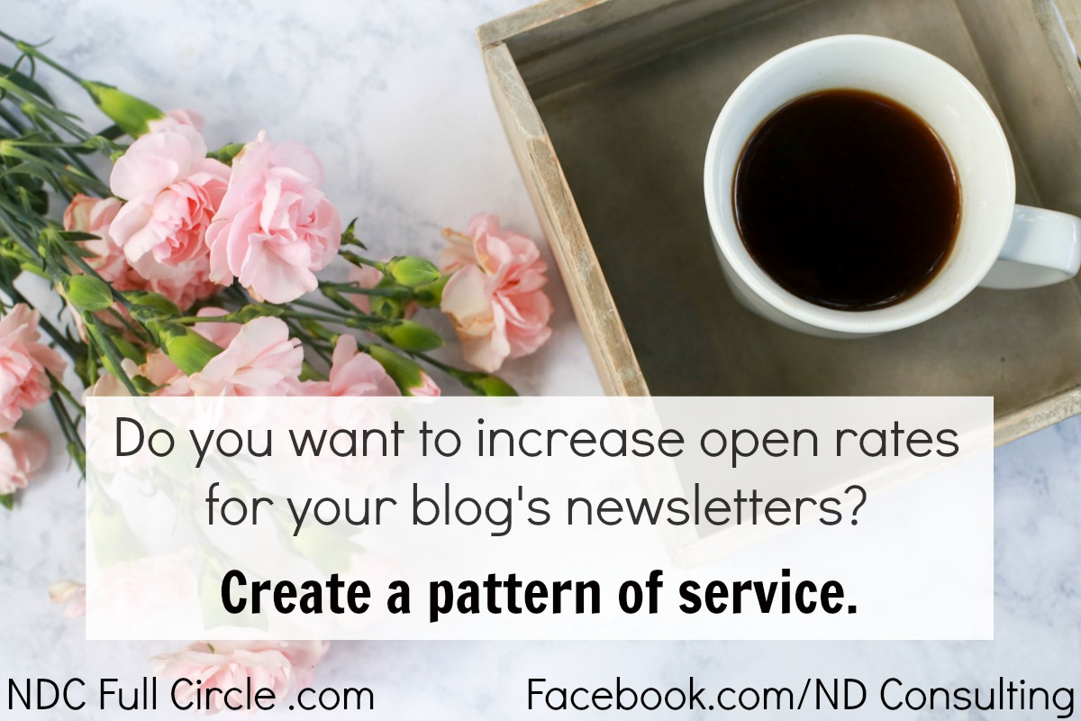 Create a pattern of service to increase open rates for your blog's email newsletter.