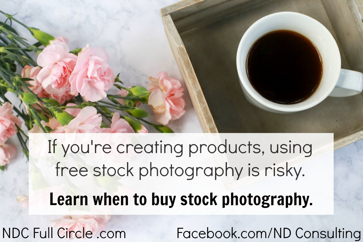 Using free stock photography is risky when creating your own products for your blog or business.