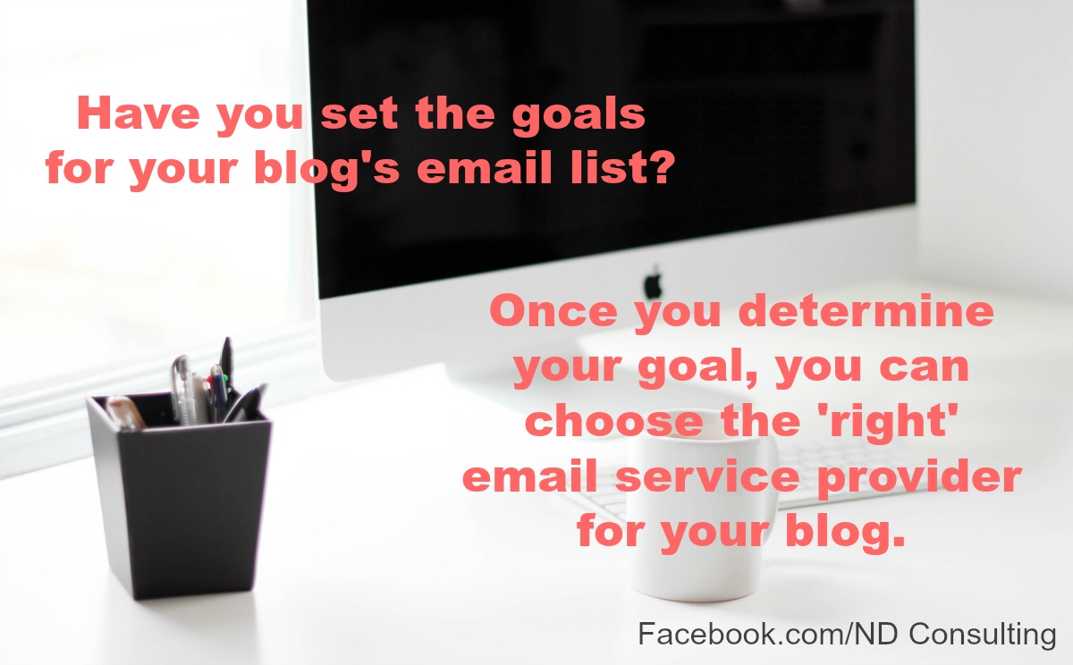 Determine the goal for your blog's newsletter before choosing an email service provider.