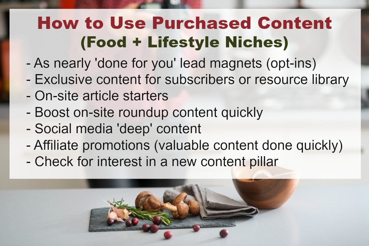 Learn where to purchase quality PLR and other purchased content for your food or lifestyle blog!