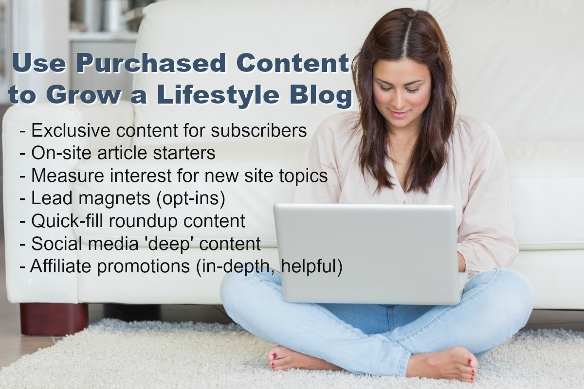 A lifestyle blogger can grow traffic by using purchased content to appeal to new followers.