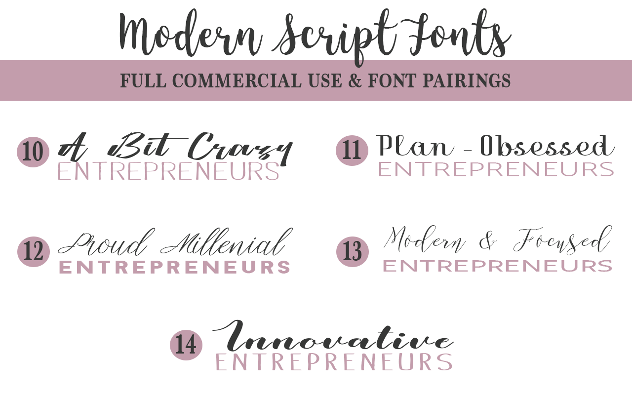 Free to use script, handwritten, calligraphy, and other font styles for bloggers and entrepreneurs.