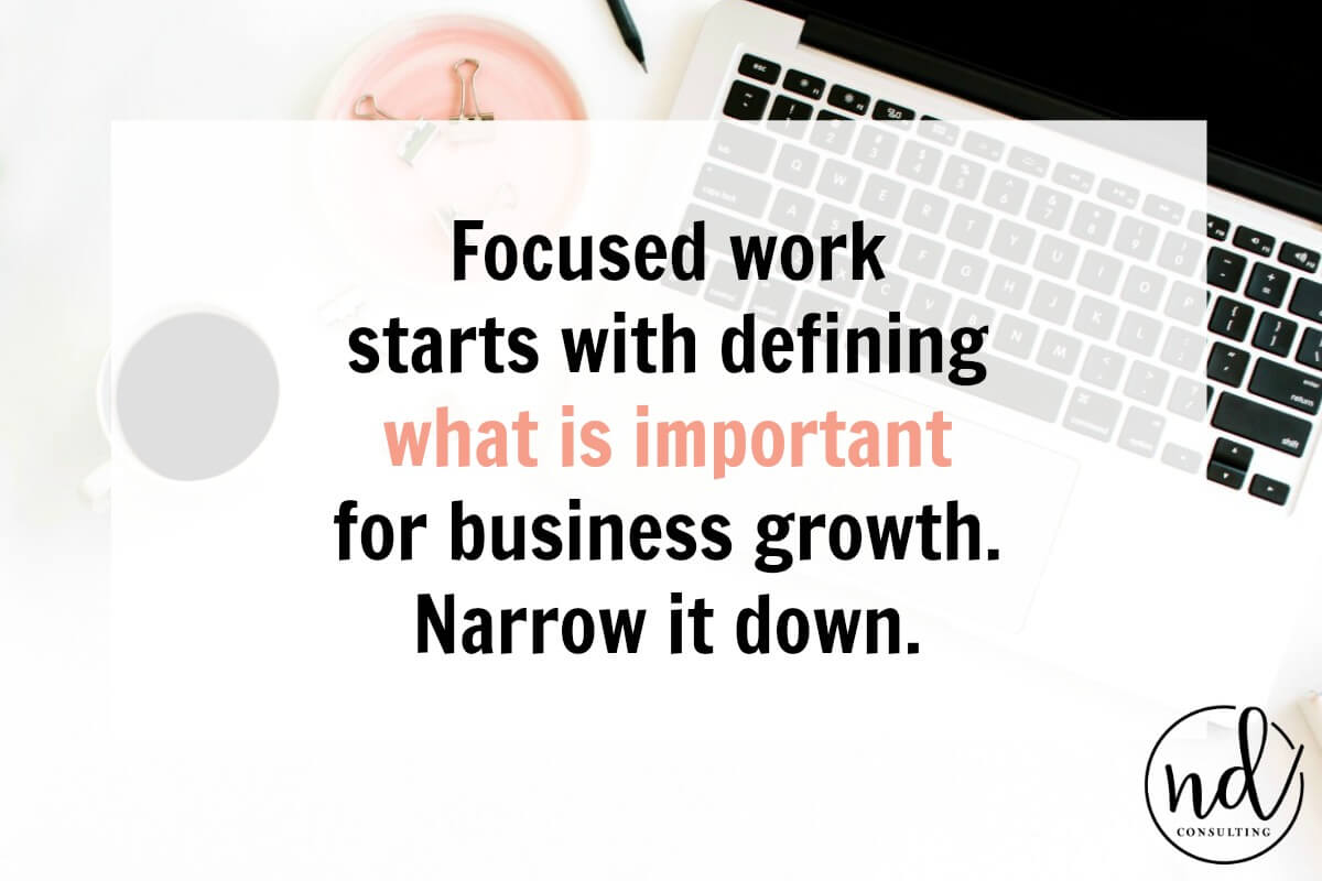 laptop on white desk with text which reads focused work starts with defining what is important for business growth