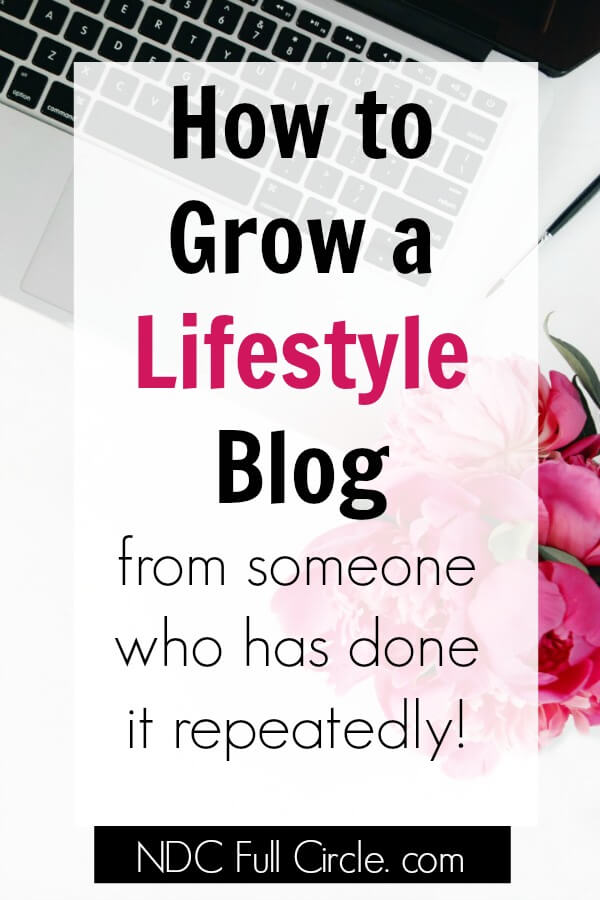laptop and flowers on white desk with text overlay which reads how to grow a lifestyle blog